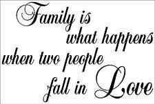 Familia es lo que sucede Amor citar pegatina de vinilo de arte de pared de decoración del hogar fwh2