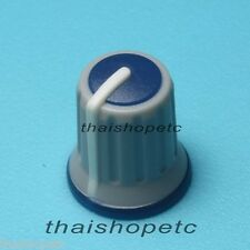 2 x GREY Knob with DARK BLUE Top WHITE Pointer for Potentiometer