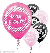 PINK AND BLACK ZEBRA STRIPE LATEX BIRTHDAY BALLOONS (15) ~ Party Supplies Helium