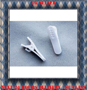 Headphone earphone cable clip high quality White 2 pcs *NEW