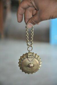 Old Brass Round Flower Shape Fine Lime Paste/Powder Box