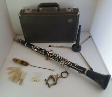 More details for vintage boosey & hawkes emperor silver & black clarinet with accessories & case
