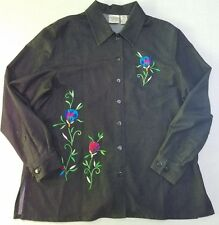EUC Allison Daley PM Black Embroidered Floral Long Sleeve Button Front Blouse