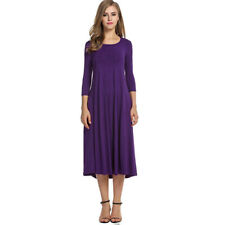 Plus-Size Women Ladies Stretch Long Sleeve Solid Color A Line Boho Beach Dress