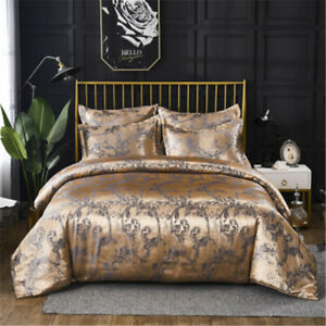 Luxury European Classical Duvet Cover Set Satin Jacquard Embroidery Bedding Sets