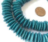 Ghana Authentic Recycled Glass Opaque Dk Teal Disk African trade beads