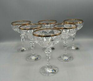 6 Alte Sektschalen Champagnerschalen Bohemia Bleikristall Handarbeit Goldrand