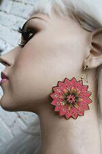 MANDALA ETHNIC BOHO GRUNGE INDIE FASHION ORIENTAL FLOWER ROSE DANGLE EARRINGS