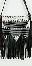 Urban Outfitters Ecote Tapestry Fringe Crossbody Handbag Purse Black and White