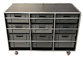 Open Front Flight Case Roll Cabinet Offer With Euro Containers - 3 X Cases