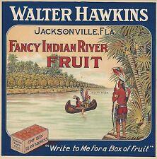 "RARE ORIGINAL 1910 LITHO ""WALTER HAWKINS BRAND"" CRATE LABEL JACKSONVILLE FLORIDA"