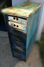 Vintage Handmade Wood Tool Cabinet With Cooper Top On Wheels