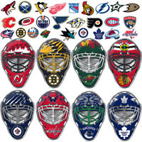 NHL Teams Goalie Mask Premium Aluminum Emblem Sticker Hockey Car Truck SUV Van