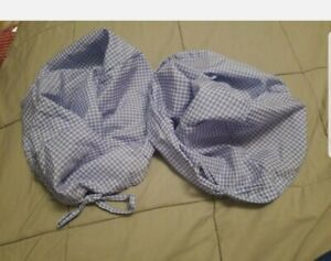 2 Square Backet Liners Blue & White Gingham drawstring tie top