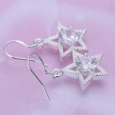 Fashion 925 Silver plated Jewelry Crystal Star Dangle Earrings For Women