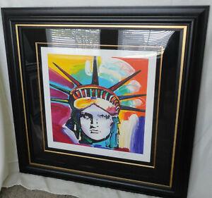 "Peter Max Liberty Head, COA, approx. 41""x40"", framed, #41/495 Excellent cond."