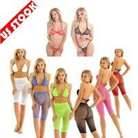 Womens Mesh Bathing Suit Fishnet Bikini Set See-through Bra Thong Briefs Shorts