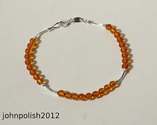 Delicate Cognac Baltic Amber Bracelet with Silver 925