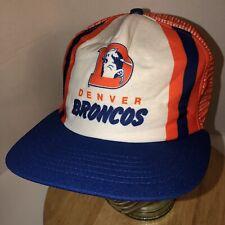 VTG DENVER BRONCOS 80s USA New Era Stripes Tri-Color Trucker Hat Cap Snapback