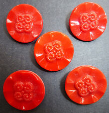 5 Delightful Vintage Red Flower Glass Buttons - 1.8cm