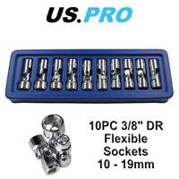 US PRO Tools 10pc 3/8dr Flexi Flexible Universal Sockets Set Metric 1693