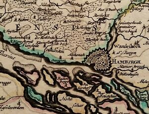 1690 JOHN SELLER MAP OF THE CITY OF HAMBURG & THE ADJACENT COUNTRY HAND COLOURED