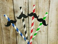"Glitter MUSTACHE Design 7.75"" STRIPED Paper Straws Choose Color & Pack Amount"