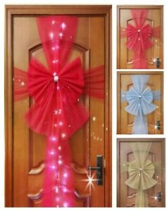 Large Door Bow Window Traditional Wedding Parties Xmas Decor Red Gold Silver LED