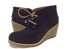 Sperry Top Sider GREENLAND Women's Wedge Boots Size 6 BLACK Suede