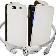 Housse Coque Etui pour Samsung Wave 3 + Chargeur Auto Couleur Blanc