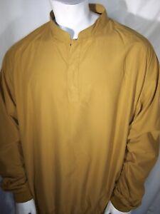Footjoy XXL Mustard Brown 1/4 zip (Snaps) Poly Lightweight Golf Jacket