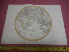 100% ORIGINAL EASTERN HEMISPHERE  MAP BY ORR DOWER C1834 VGC HAND COLOURED