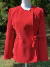 Kasper ASL Suit Jacket Red Side Tie Bow Blazer Size 8 Medium Suit Coat