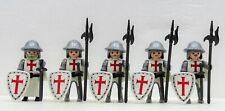 5 KREUZRITTER TEMPELRITTER PLAYMOBIL zu Wachen Hauptmann Crusader Templer RAR