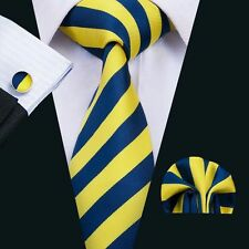 SN-1490 Fashionable Mens Tie Yellow Striped Silk Jacquard Woven Necktie Set
