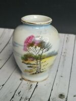 Vtg Mini Minature Tree Scenry Vase Occupied Japan Hand Painted Porcelain 2.5""