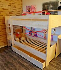 Hochbett  Kinderbett Etagenbett Kinderzimmer Bett Rollrost Schublade Massivholz