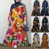 Womens Long Sleeve Casual Loose Abaya Muslim Kaftan Baggy Swing Tunic Maxi Dress