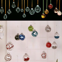 Clear Christmas Plastic Ball Xmas Tree Hanging Ornament Party Home Decor Gift AU