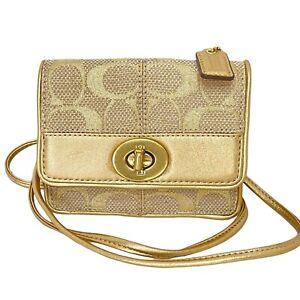 Coach Mini Crossbody Bag / Wallet /  Micro Clutch - Gold Signature Turnlock