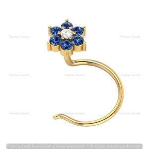 14k Yellow Gold Blue Sapphire & Real Diamond Flower Nose Piercing Ring Pin Stud