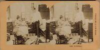 Fumetto Vita Un Coppia Con Neonato USA Foto Stereo Vintage Albumina 1897