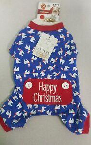 """Dog Pajamas Blue w/ Happy Christmas"""" & Lamas Size SM"""
