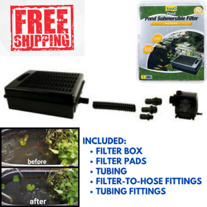 Submersible Flat Box Pond Filter For 500 200 - 2000 GPH Pump Fountain Declogging