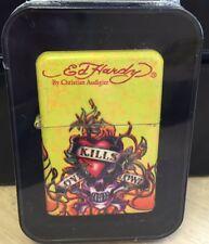 Ed Hardy by Christian Audigier Flip Top Oil Lighter Refillable Tattoo Flint
