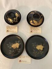 Antique Japanese Wajima-Nuri Lacquerware Covered Rice Bowls & Plates c1900