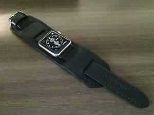 Apple Watch Band 44mm Series 6 Black Leather Watch Bund Straps