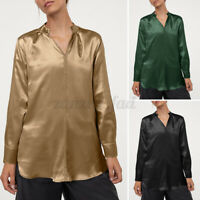 UK Ladies Silky Satin Tops Sexy V Neck Party Office Blouse Tee Shirt Womens 8-26