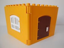 Lego Duplo House / Farm - Orange Interlocking WALLS x 2 - opening Window & Door