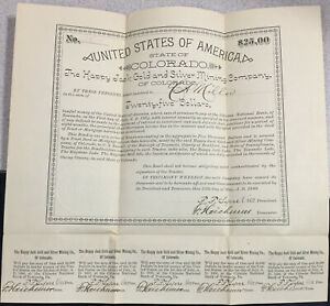 Happy Jack Gold & Silver Mining Co. of Ouray, Colorado Bond  1889